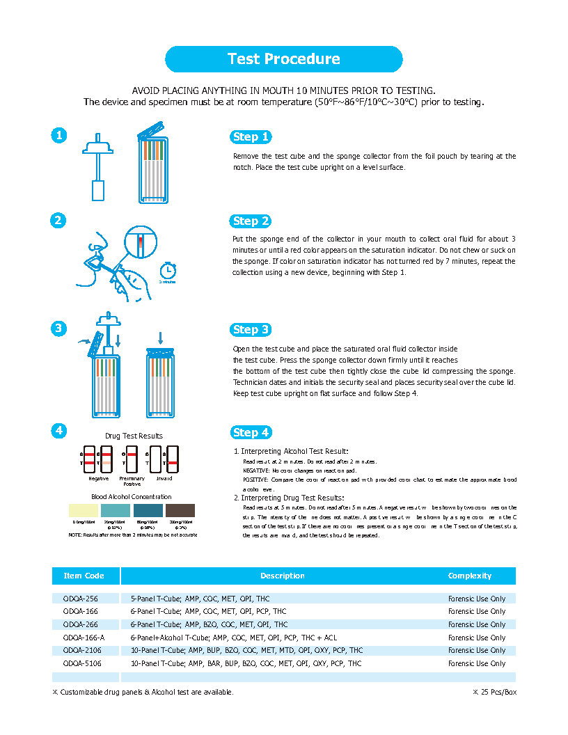 T-Cube FUO Saliva Drug Test Instructions